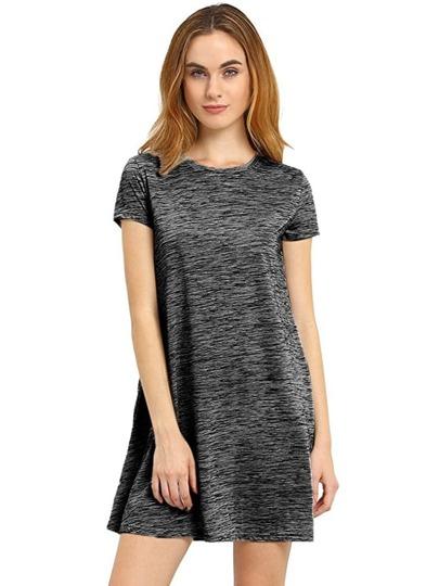 Black Tees Short Sleeve Casual Dress