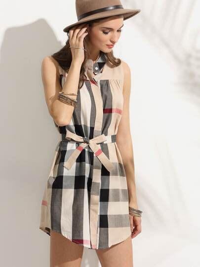 Plaid Stand Collar Self Tie Shirt Dress