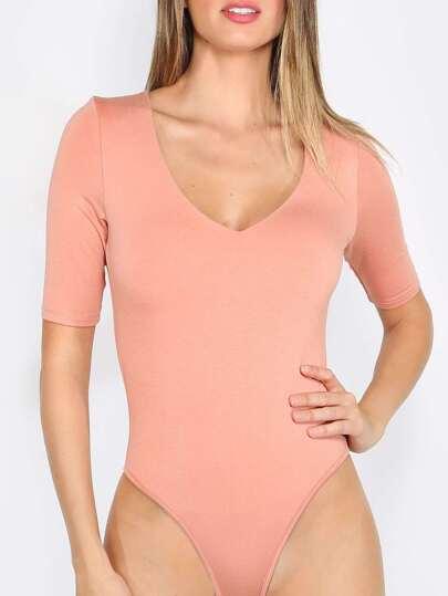 Orange Short Sleeve V Neck Bodysuit