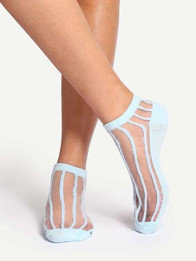 Light Blue Striped Ankle Socks