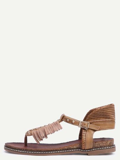 Apricot Beaded Flip Sandals