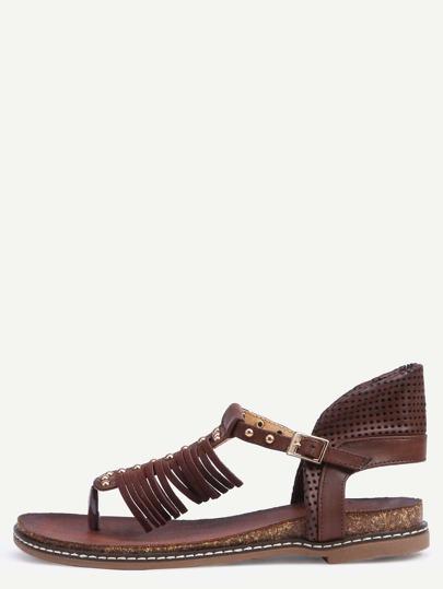 Sandales entredoigts avec perles - café