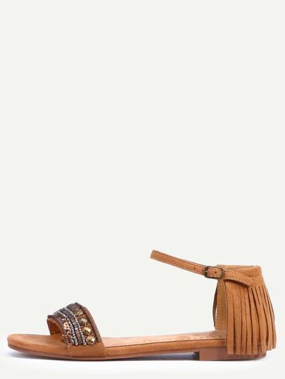 Sandalias faux suede tachuelas borlas - camello