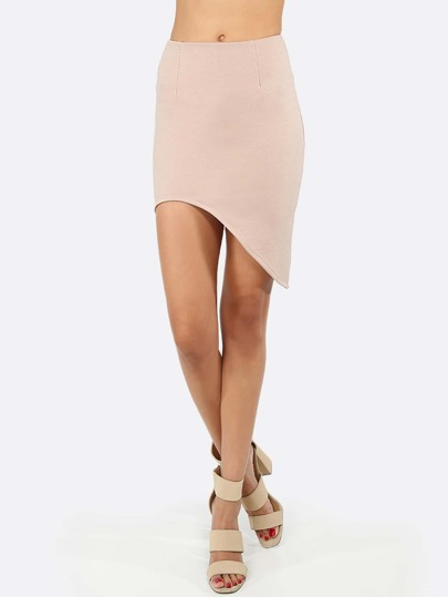 Apricot Asymmetrical Bodycon Skirt