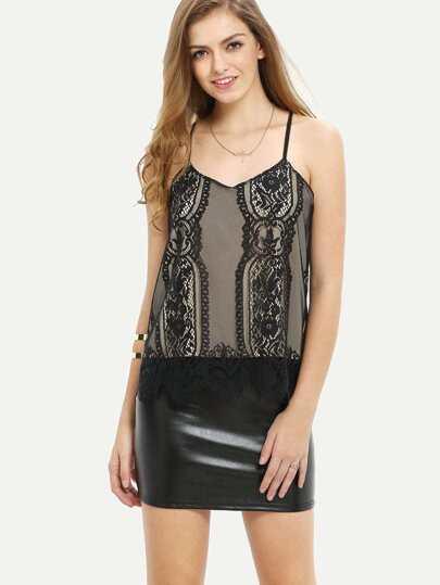 Black Spagettic Strap Crochet Lace Hem Cami Top