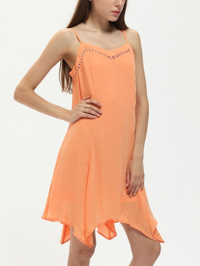 robe orange asymétrique à bretelle