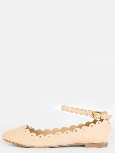 Scalloped Stud Ankle Strap Flats NUDE