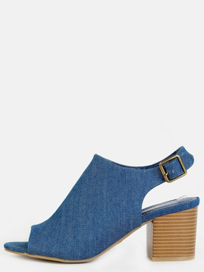 Denim Stacked Heel Mule Booties DENIM