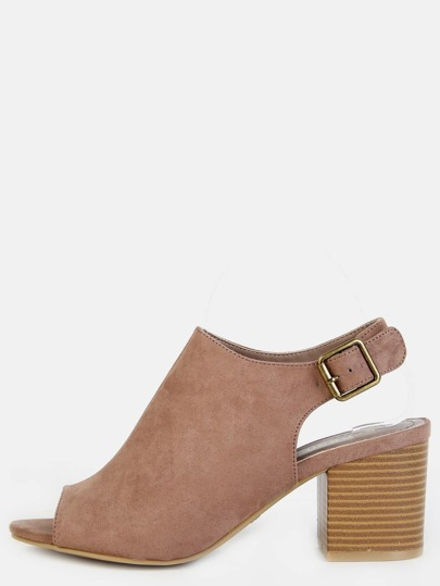 Peep Toe Faux Suede Block Heel Boots TAUPE