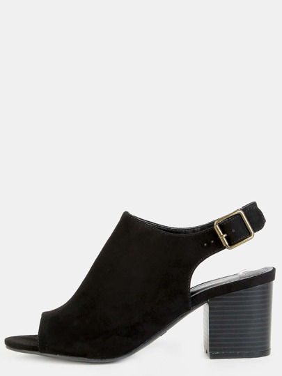 Faux Suede Stacked Heel Boots BLACK