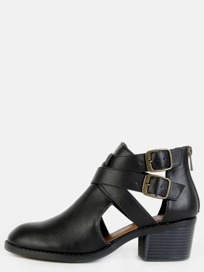 Cut Out Almond Toe Booties BLACK
