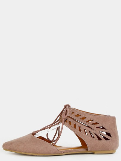 Faux Suede Cut Out Flats TAUPE