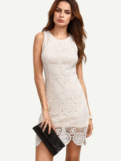 White Crochet Hem Bodycon Dress