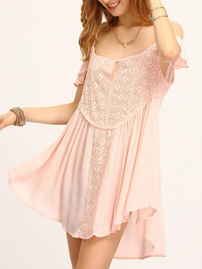 Pink Cold Shoulder Pleated Asymmetric Hem Dress