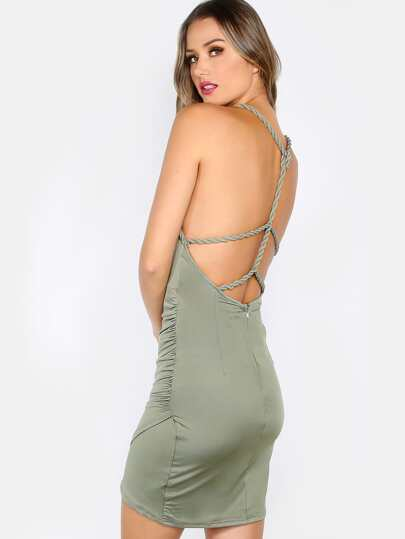 Braided Strappy Mini Dress OLIVE