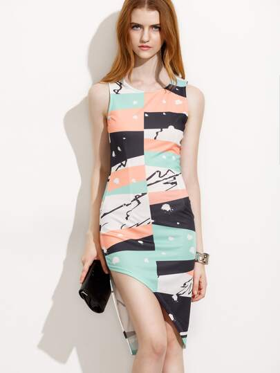 Multicolor Print Sleeveless Sheath Asymmetrical Dress