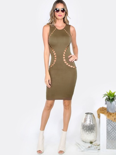 Mesh Back Cut Out Dress OLIVE