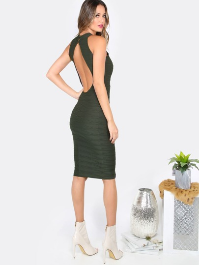 Backless Textured Dress OLIVE