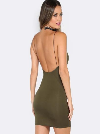 Low Back Bodycon Mini Dress OLIVE