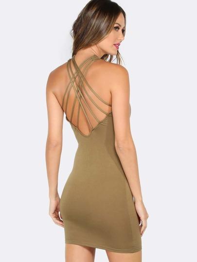 Round Neck Strappy Mini Dress OLIVE