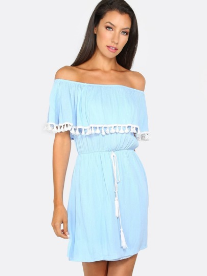 Off The Shoulder Tassel Dress SKY