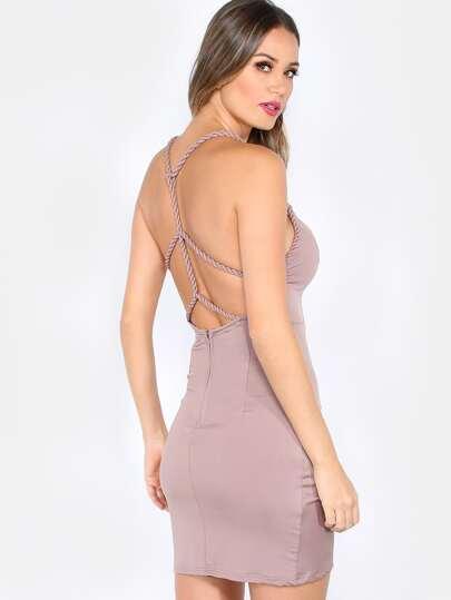 Ruched Braided Mini Dress COCOA