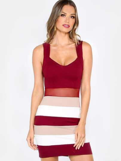 Color Block Bodycon Dress BURGUNDY