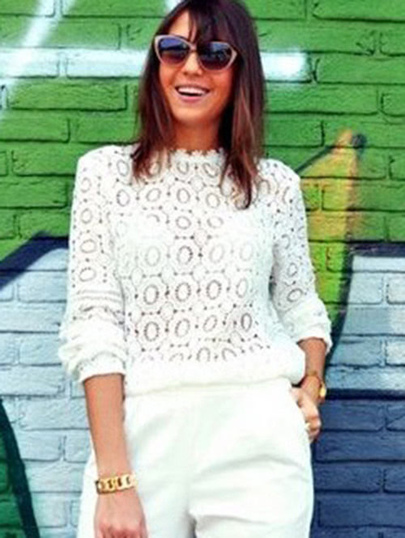 Lace Mock Neck Blouse