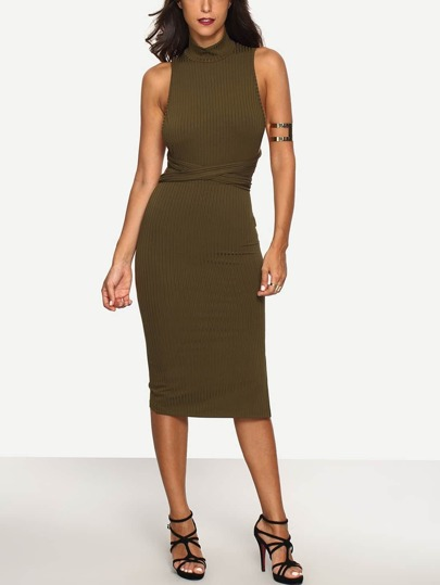 Army Green Sleeveless Criss Cross Back Dress