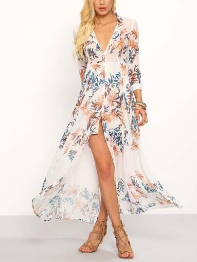 Robe longue en mousseline motif fleuri