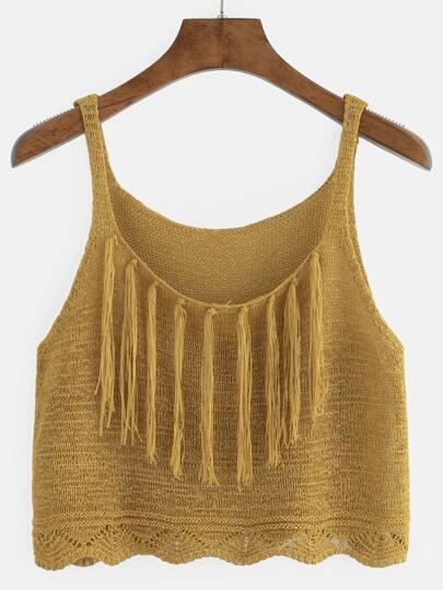 Mustard Fringe Knitted Cami Top