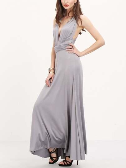 Grey Deep V Neck Self-Tie Maxi Dress