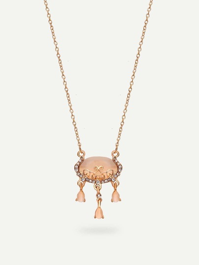 Golden Gemstone Pendant Necklace