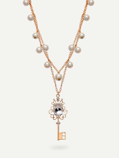 Rhinestone Pendant Pearl Necklace