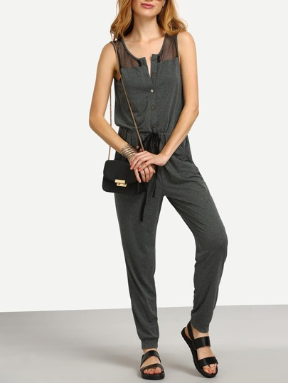 Grey Pocket Button Sleeveless Tie Waist Jumpsuit