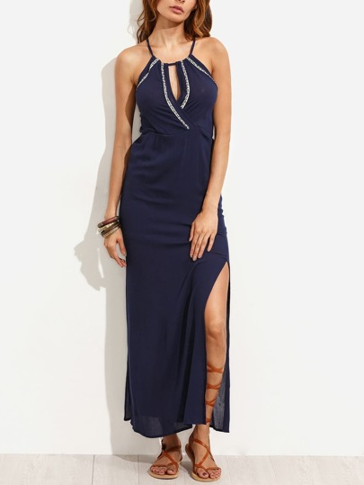 Navy Keyhole Front Embroidered Slit Dress