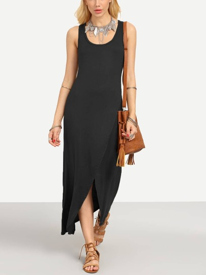 Black Wrap Racerback Tank Dress