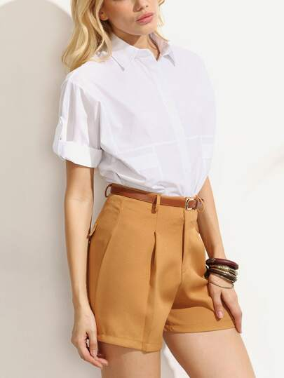 White Cuffed Sleeve Blouse With Khaki Shorts