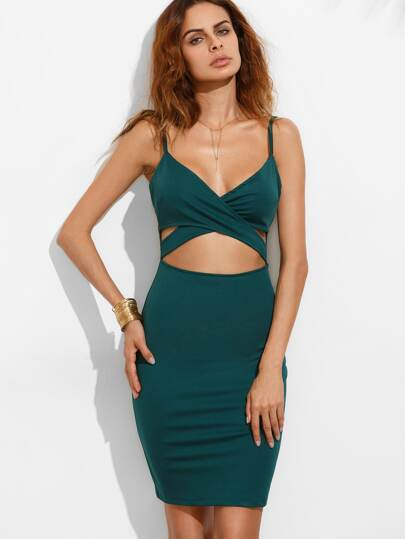 Dark Green Spaghetti Strap Cut Out Bodycon Dress