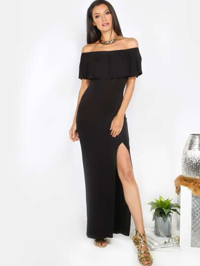 Off the Shoulder Maxi Dress BLACK