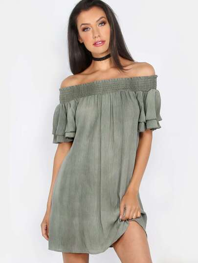Off the Shoulder Crepe Dress OLIVE