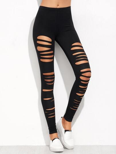 Slashed Jersey Leggings BLACK