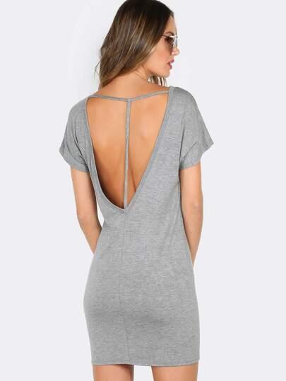 Backless Strappy Tee Dress HEATHER GREY