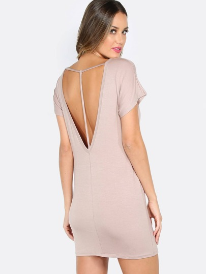 T Strap T-Shirt Dress TAUPE