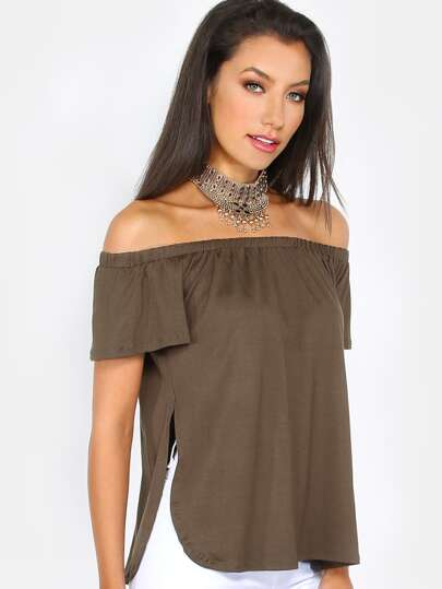 Bardot Draped Top OLIVE