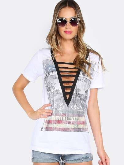 Deep V Strappy Graphic Tee WHITE