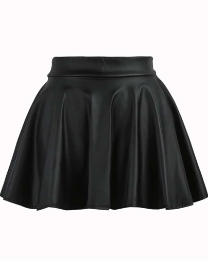 Black Elastic Waist Flare PU Leather Skirt