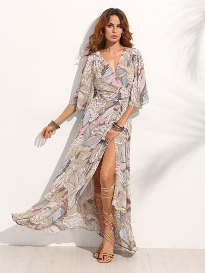 Vestido maxi cruzado - multicolor