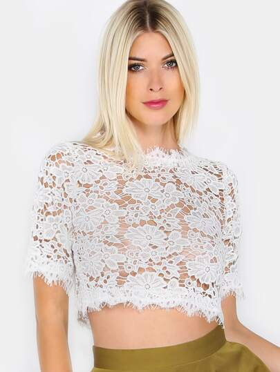 High Neck Floral Lace Top IVORY