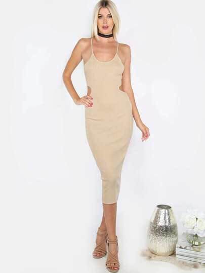 Strappy Back Cut Out Dress SAND